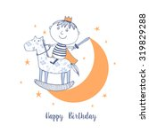happy birthday card with cute...   Shutterstock .eps vector #319829288