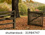 Autumn Trees  Leaves And Fence...