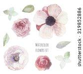 watercolor floral set. hand... | Shutterstock . vector #319852886