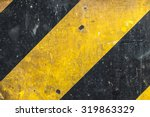 Metal Texture With Caution Sig...