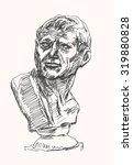 ancient person bust sculpture ... | Shutterstock .eps vector #319880828