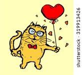 funny cartoon cat holding heart | Shutterstock .eps vector #319913426