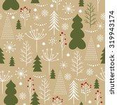 christmas trees seamless... | Shutterstock .eps vector #319943174