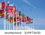 world flags blowing in the wind ... | Shutterstock . vector #319973630