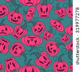 seamless halloween pattern ... | Shutterstock .eps vector #319977278