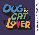 hand drawing doodle dog and cat ... | Shutterstock .eps vector #320045150