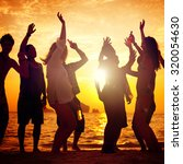 people celebration beach party... | Shutterstock . vector #320054630