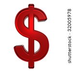 Dollar sign from ruby alphabet set, isolated on white. Computer generated 3D photo rendering. - stock photo