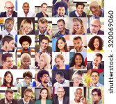 collage diverse faces group... | Shutterstock . vector #320069060