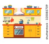 kitchen wall interior. flat... | Shutterstock .eps vector #320083709