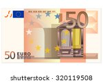 Fifty Euro Banknote On A White...