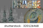 illustration with view of prague | Shutterstock . vector #320126468