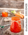Carrot Jam In A Glass Jar On A...