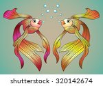 two beautiful bright fish with... | Shutterstock .eps vector #320142674