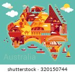 cartoon map of australia | Shutterstock .eps vector #320150744