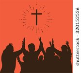 group worship  raised hands ... | Shutterstock .eps vector #320152526