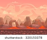 seamless cartoon volcano desert ... | Shutterstock .eps vector #320153378