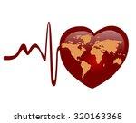 heart with world map  ... | Shutterstock . vector #320163368