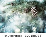 fir branch with pine cone and... | Shutterstock . vector #320188736