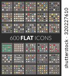 Large Icons Set  600 Flat...