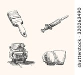 Misc drawings set with brush, syringe, car and cup, in engraving etching sketch hand drawing style
