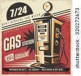 retro poster design for gas... | Shutterstock .eps vector #320272673