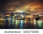view of manhattan at sunset ... | Shutterstock . vector #320273600