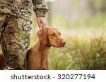 yang hunter with a dog on the...   Shutterstock . vector #320277194