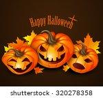 three pumpkin leaves happy... | Shutterstock .eps vector #320278358