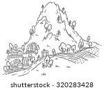 cartoon town at the foot of the ... | Shutterstock .eps vector #320283428