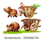farmer riding bullock cart... | Shutterstock .eps vector #320286710