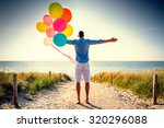 happy carefree male looking... | Shutterstock . vector #320296088