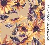 sunflowers seamless pattern on... | Shutterstock . vector #320297129