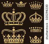 gold crown set   set of ornate... | Shutterstock .eps vector #320298230