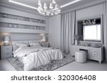 3d render of a white bedroom in