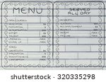 funny menu depicting different... | Shutterstock . vector #320335298