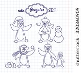 vector penguins set. cartoon... | Shutterstock .eps vector #320360909