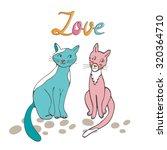 romantic cats couple... | Shutterstock .eps vector #320364710