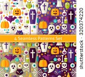 four seamless halloween party... | Shutterstock .eps vector #320374220