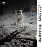 astronaut on lunar  moon ... | Shutterstock . vector #320377229