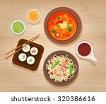 Set Of Asian Food. Noodles With ...