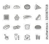 bakery  pastry and bakery tool... | Shutterstock .eps vector #320387018
