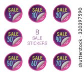 8 sale round stickers with... | Shutterstock .eps vector #320397590