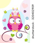Cute Owls In Love Isolated On...
