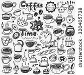 tea cups coffee doodles | Shutterstock .eps vector #320405738