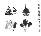 birthday party icons. cake ...