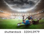 rugby player doing a drop kick... | Shutterstock . vector #320413979