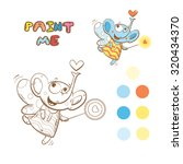 coloring book with cute cartoon ... | Shutterstock .eps vector #320434370
