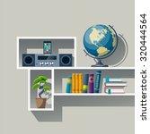 bookshelf with globe  stack of... | Shutterstock .eps vector #320444564
