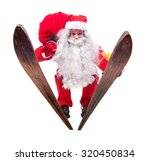 santa claus jumps on skis... | Shutterstock . vector #320450834